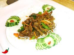 "84. ""Mongolian Style"" Lamb with Crispy Noodles"