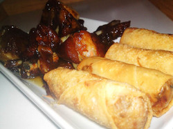 Honey Ribs and Meat Spring Rolls