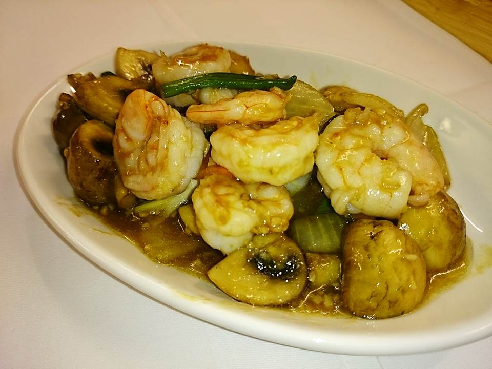 56m. King Prawns with Mushrooms