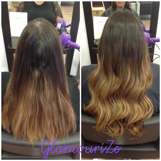 Balayage blend extensions