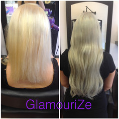 Icy blonde extensions