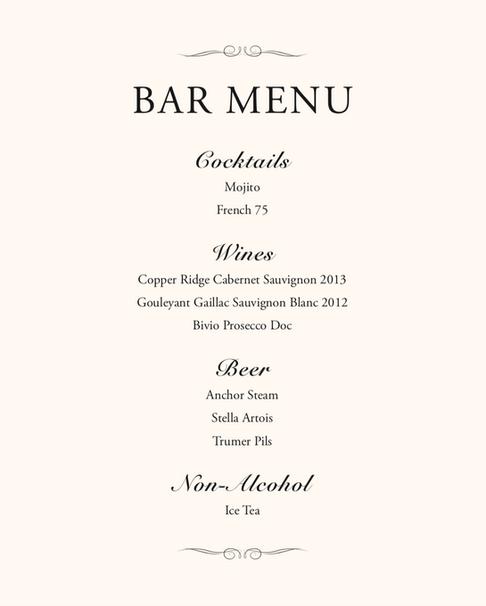 Bar Menu Style 1