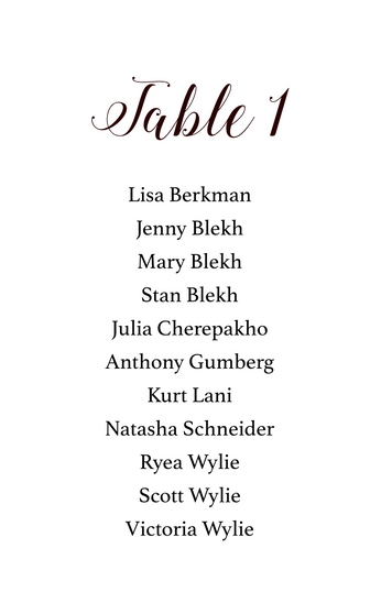 Table #s Sign Style 1