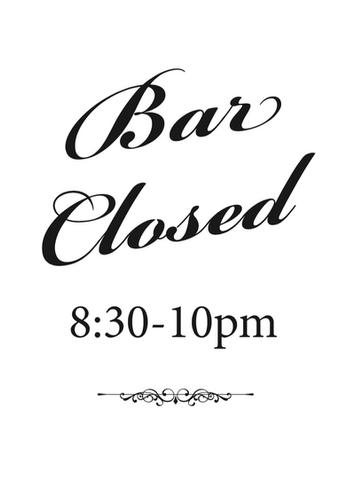 Bar Closed Sign