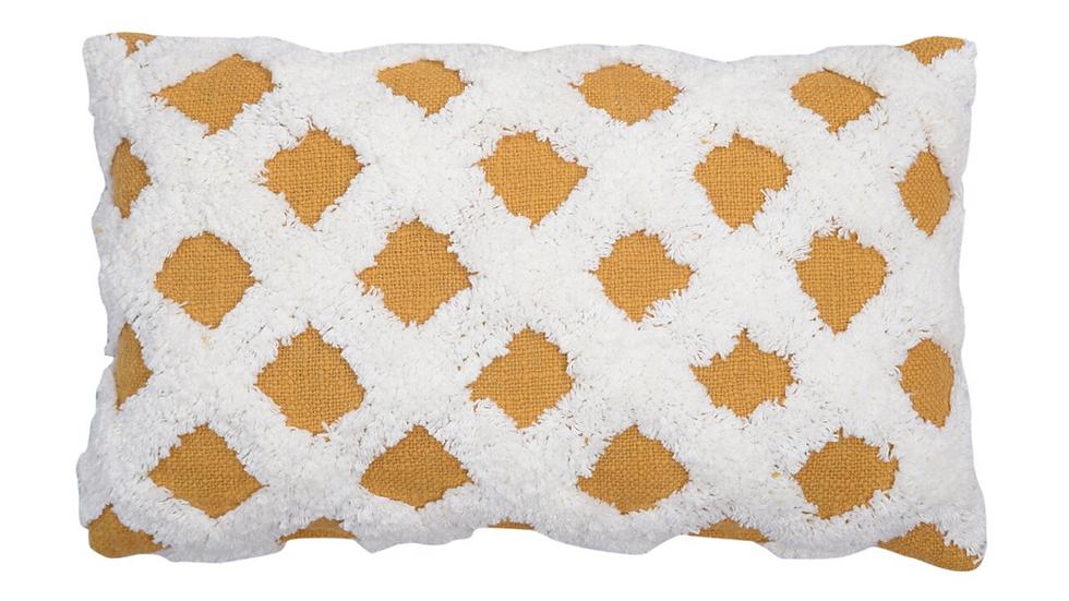 Ochre and cream cushion