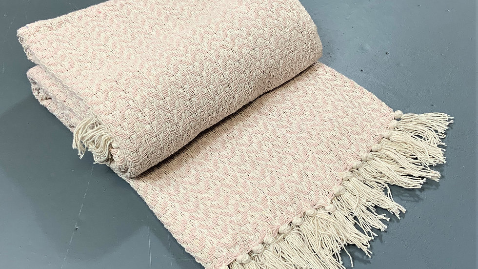 Pink and cream throw