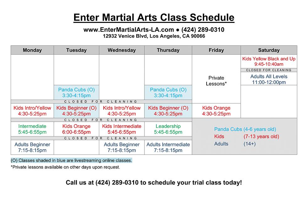 Enter Martial Arts Class Schedule (5-10-