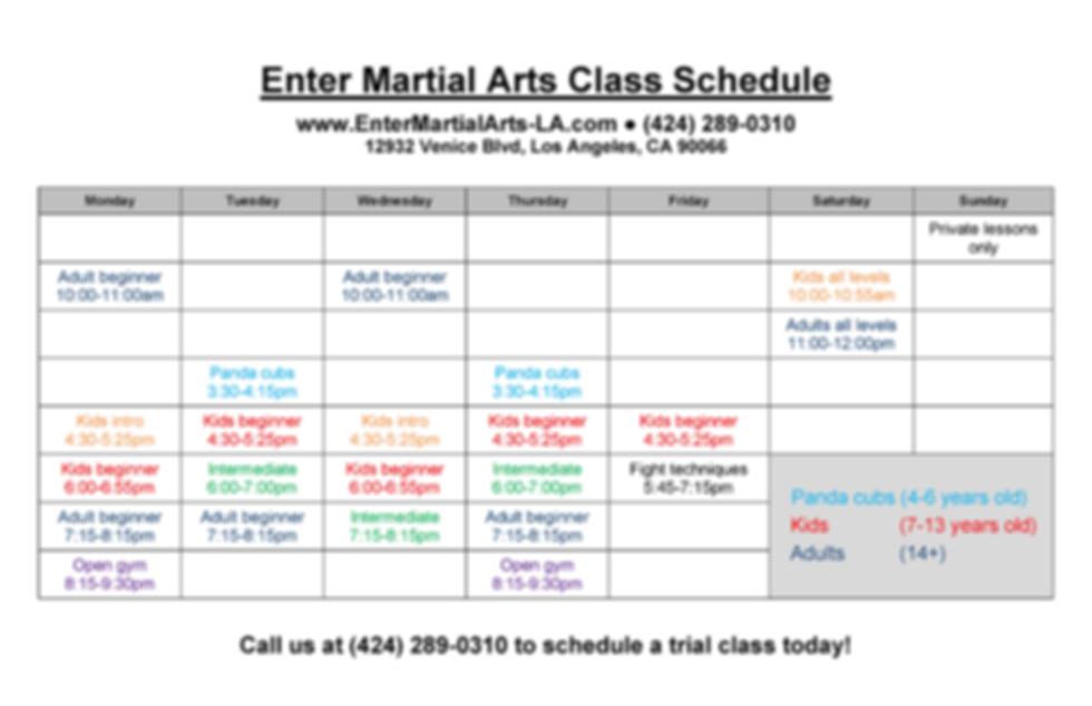 Enter Martial Arts Class Schedule 12-8-1
