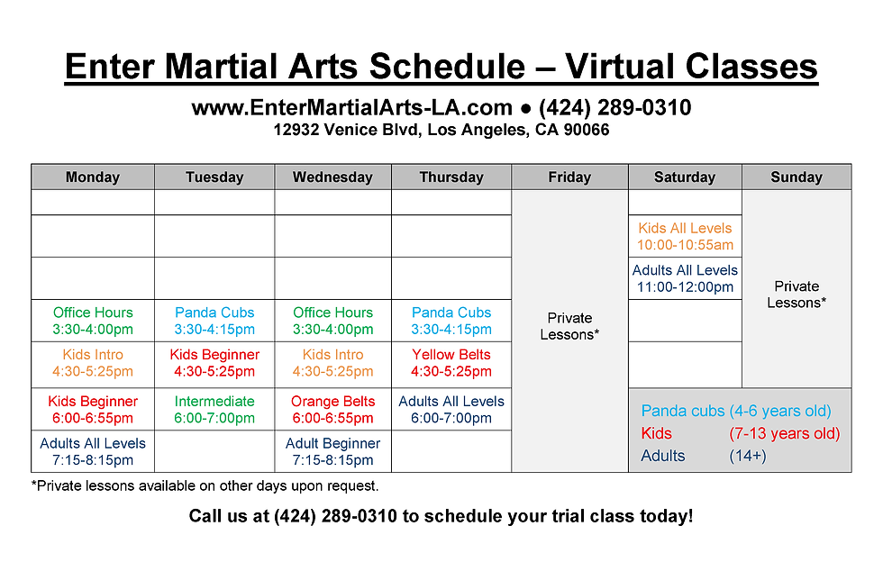 Enter Martial Arts Class Schedule (large