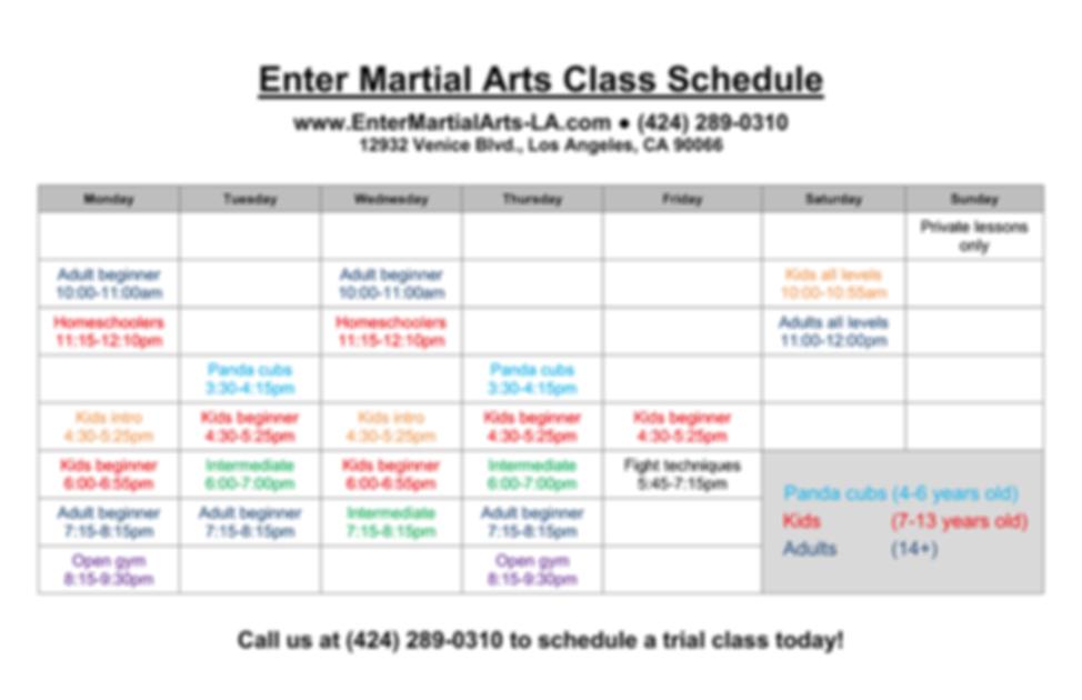 Enter Martial Arts Class Schedule 8-25-1