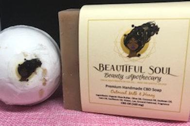 Oatmeal Milk & Honey CBD Soap Bar + 100 mg OCBD Bath Bomb Oatmeal Milk Honey