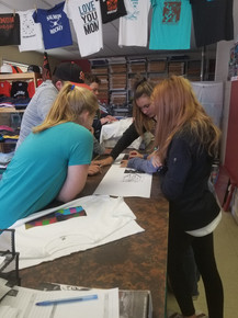 FernWaters kids cutting apart their printed creations