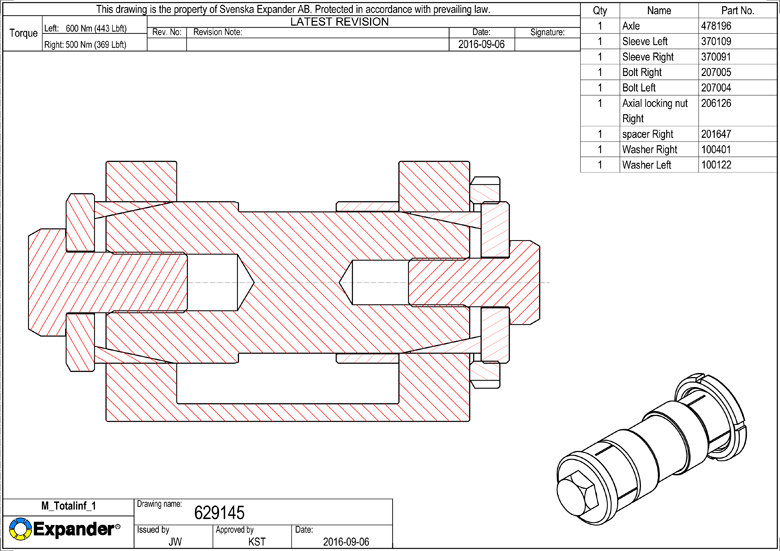 Ось переменного диаметра с осевой фиксацией