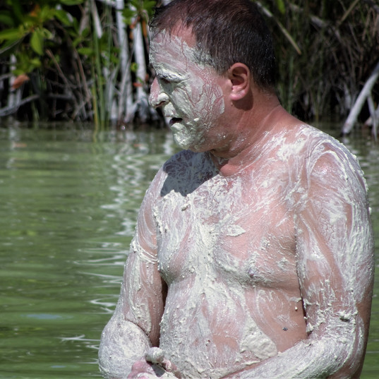 mud bath in Kaan Luum Lagoon