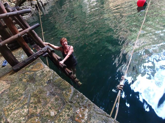 Swimming in Cenote Ik Kil