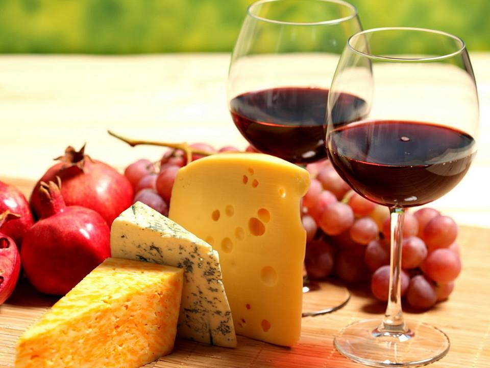 Cheese and wine tasting at the Winter Gathering