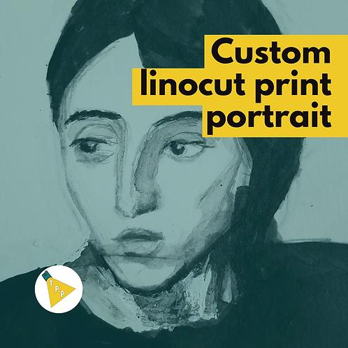 Mariel's Linocut Print Portrait