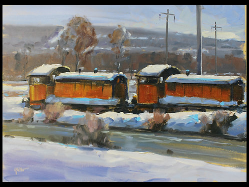 "2 Red Train Engines at Steelton - Original Oil, 11""x14"""