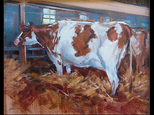 "Cow in Barn - Original Oil, 8""x10"""