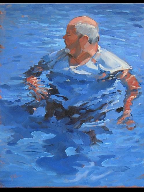 "Man Swimming - Original Oil, 8""x10"""