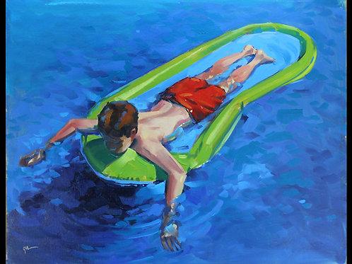 "Boy Relaxing on Raft- Original Oil, 12""x16"""