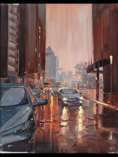 "Third Street in the Rain - Original Oil, 18""x24"""