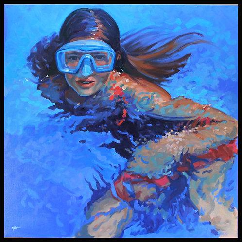 """Girl Swimming - Original Oil, 20""""x 20"""""""