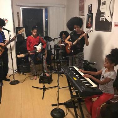 The Cnotes at home rehearsing