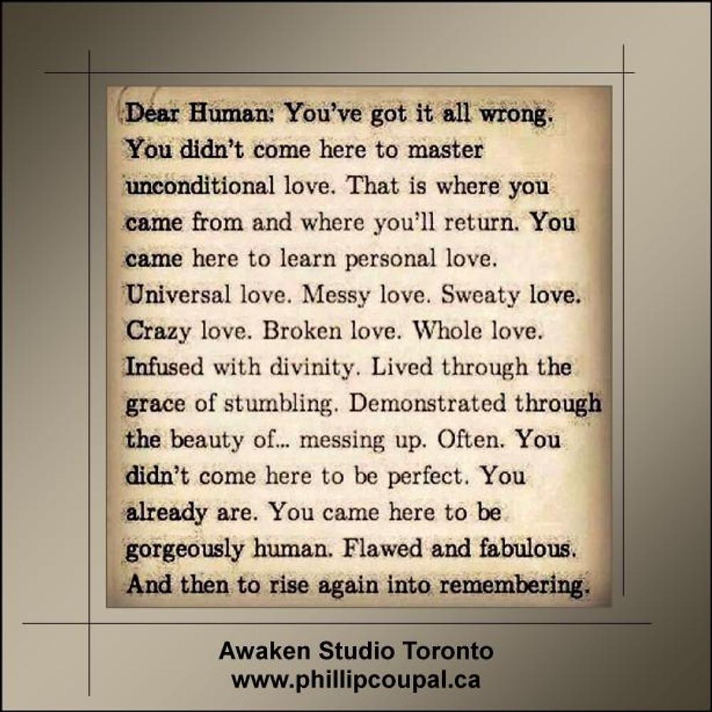 Being Human at the Awaken Studio www.phillipcoupal.ca