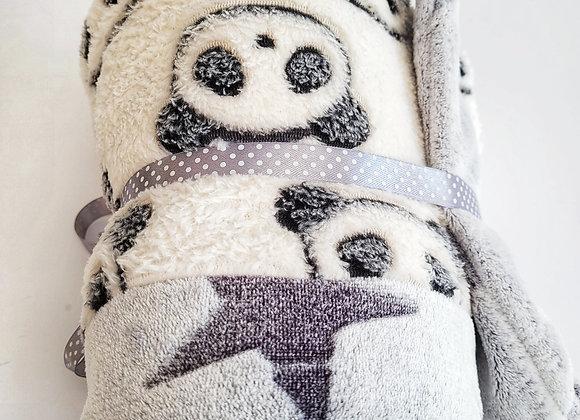 שמיכת חורף לתינוק פנדה כוכבים - אפור לבן
