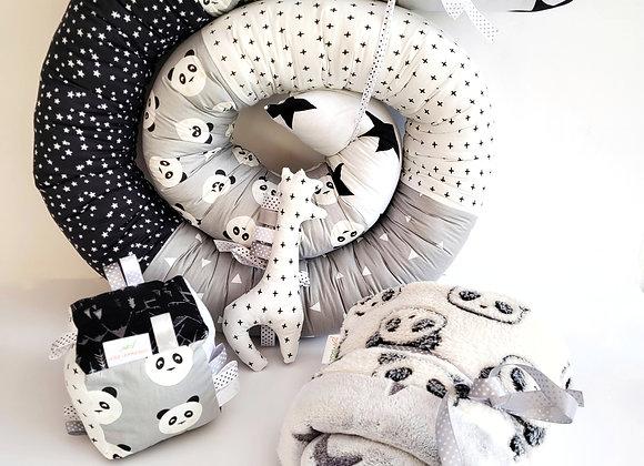 חבילת פינוק פנדה - אפור לבן שחור