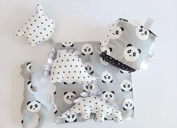 חבילת משחק פנדה - אפור לבן שחור