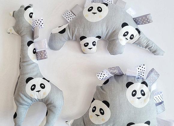 חבילת בובות פנדה - אפור לבן