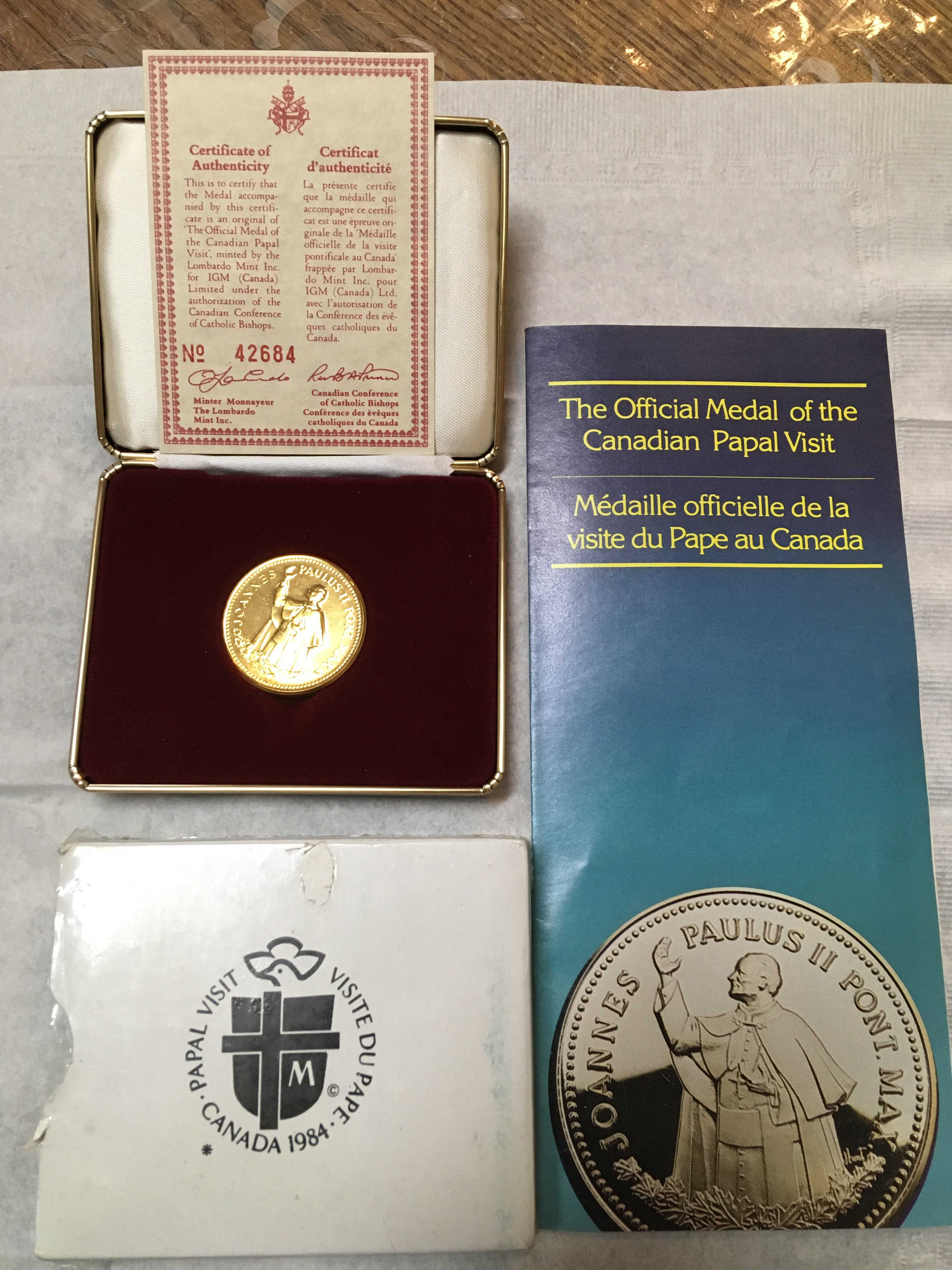 Canadian Papal Visit Gold Coin