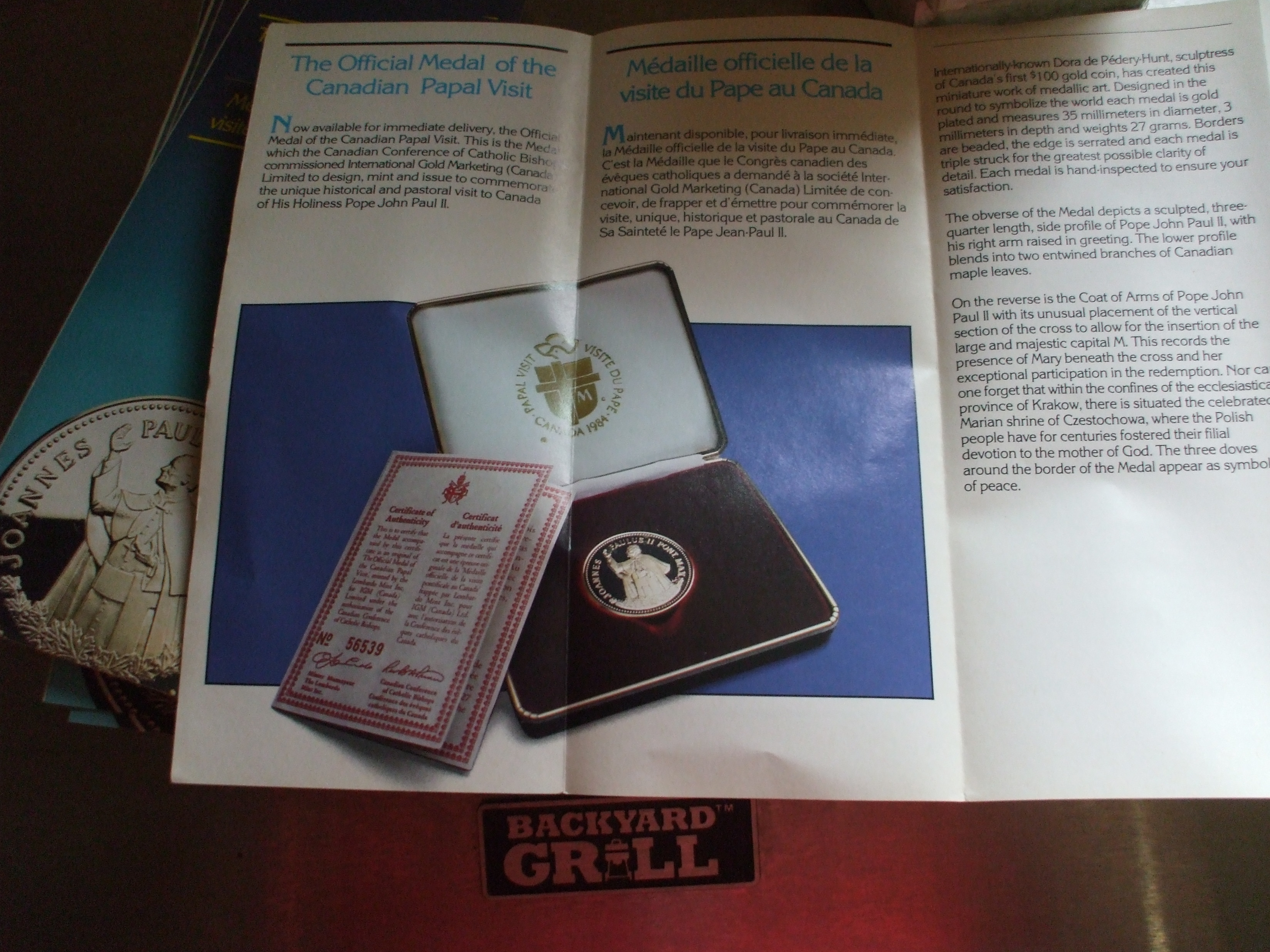 1984 Canadian Papal Visit Coins Pamphlet