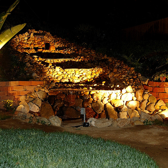 Lighting Waterfall with LED Landscape Lighting