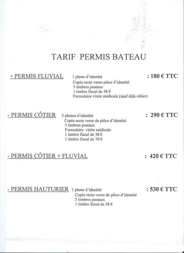 Tarif Permis Bateau Chantier Nautique du Nord à LILLE