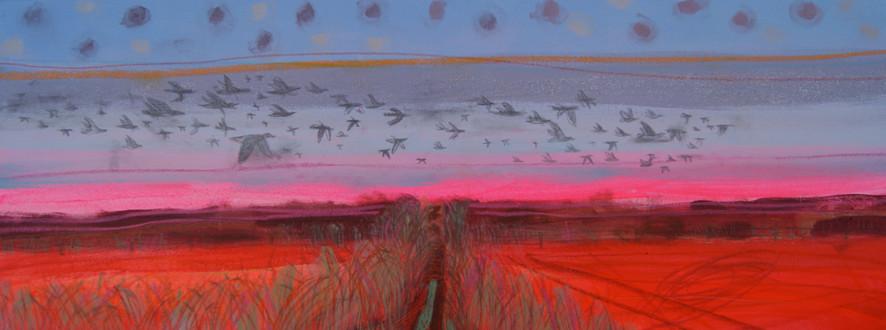 Skein of Geese at Burnham Norton, 30 x 9