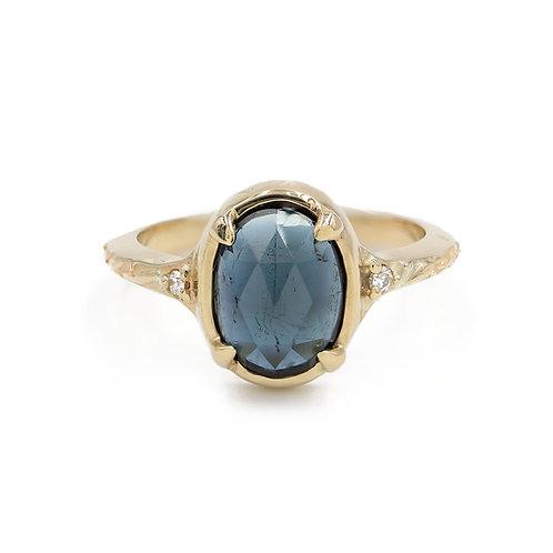 Deep Blue Tourmaline Laurus Nobilis Ring