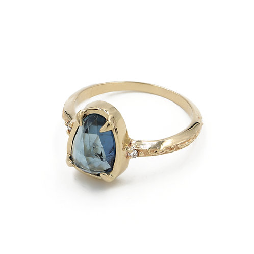 Sky Blue Tourmaline Laurus Nobilis Ring