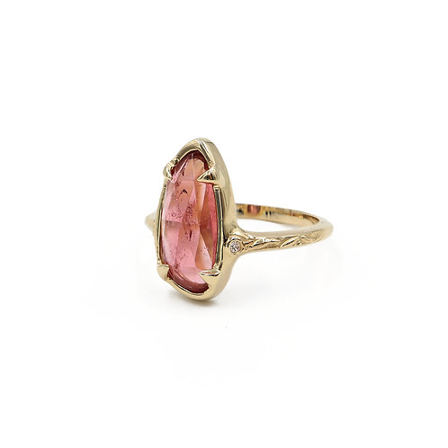 Peach Tourmaline Laurus Nobilis Ring