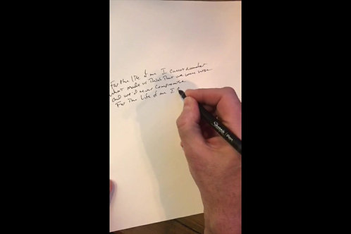 Handwritten Lyrics w/Dedication