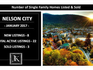 NELSON CITY:  Number of Single Family Properties Listed & Sold in January