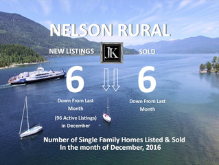 New Listings and Sold Single Family Homes in Rural Nelson