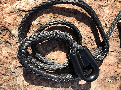 """3/8"""" Black Pure Dyneema SK75 Winch Line w/ Protective Sleeve & Gusset Thimble"""
