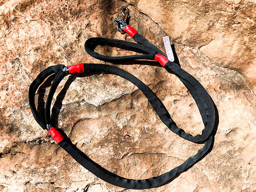 """5/16"""" Winch Line Doggie Leash w/Mid Handle, Black Protective Cover & Swivel Snap"""
