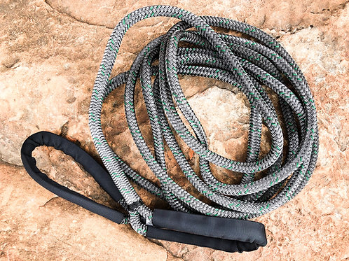 """1/2"""" x 20FT Kinetic Recovery Rope, BLK Coated w/ 8"""" Eyes & BLK Protective Sleeve"""