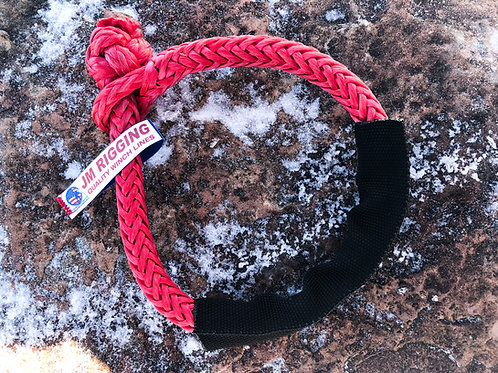 """3/8"""" Red Soft Shackle Pure Dyneema SK75 w/ Black Protective Sleeve"""