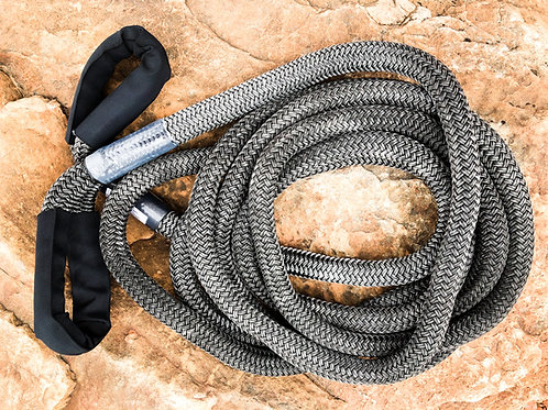 """1"""" x 30FT Kinetic Recovery Rope, BLK Coated w/ 8"""" Eyes & BLK Protective Sleeve"""