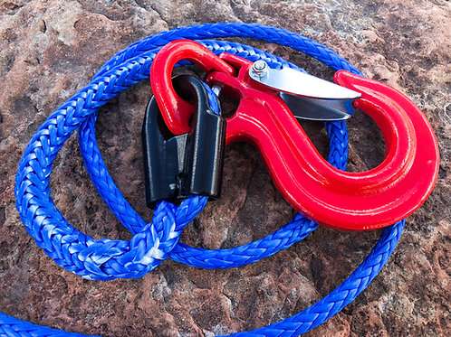 """3/8"""" Blue Pure Dyneema SK78 Winch Line w Protective Sleeve, Gusset Thimble, Hook"""